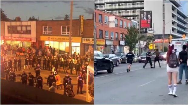 A large police presence can be seen on Eglinton Avenue West near Oakwood Avenue on Saturday, Aug. 29